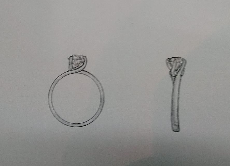 求婚戒指手绘设计图展示